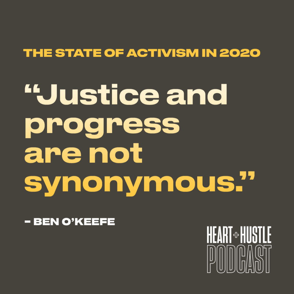 Justice and progress are not synonymous. Quote by Ben O'Keefe