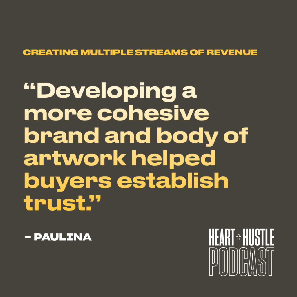 Quote image with the quote Developing a more cohesive brand and body of artwork helped buyers establish trust.