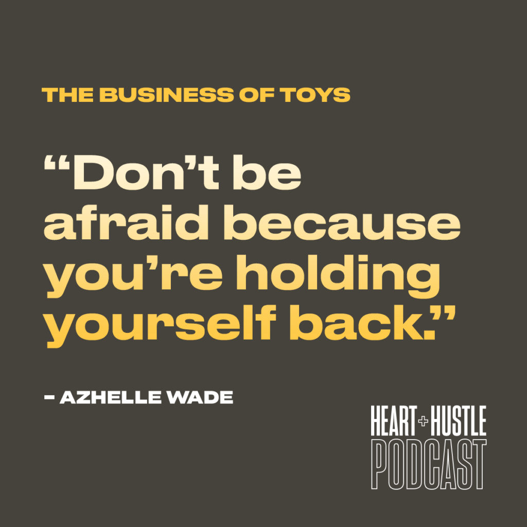 "A quote that reads ""Don't be afraid because you're holding yourself back."" by Azhelle wade"