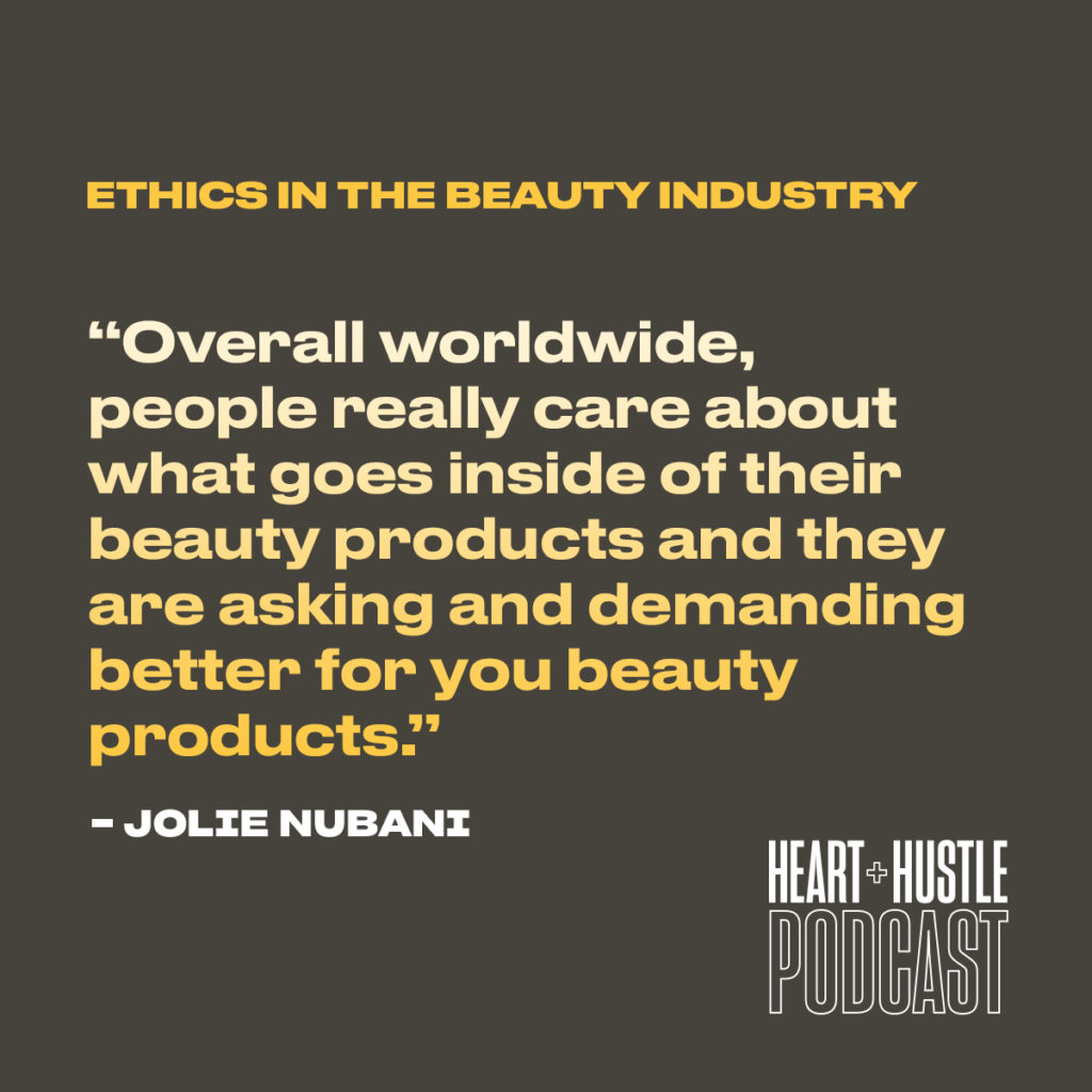 """An image that reads """"Overall worldwide people really care about what goes inside their beauty products and they are asking and demanding better for you beauty products."""" by Jolie Nubani with the title Ethics in the Beauty Industry"""
